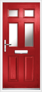 2 Panel 4 Glazed Composite Front Door Red