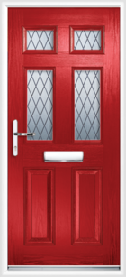 2 Panel 4 Glazed Diamond Lead Composite Front Door Red