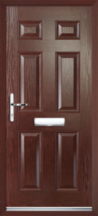 6 Panel Composite Front Door Rosewood