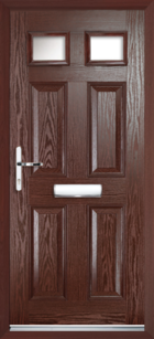 4 Panel 2 Glazed Composite Front Door Rosewood