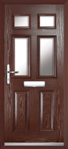 2 Panel 4 Glazed Composite Front Door Rosewood
