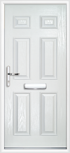 6 Panel Composite Front Door White