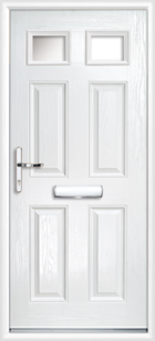 4 Panel 2 Glazed Composite Front Door White