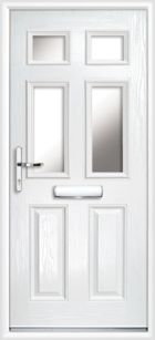 2 Panel 4 Glazed Composite Front Door White