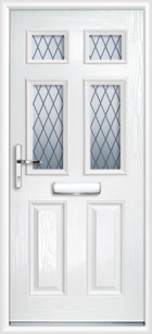 2 Panel 4 Glazed Diamond Lead Composite Front Door White