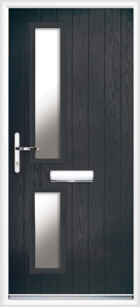 2 Rectangle Glazed Composite Front Door Black