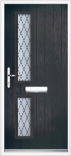 2 Rectangle Glazed Diamond Composite Front Door Black