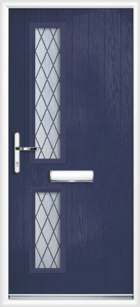 2 Rectangle Glazed Diamond Composite Front Door Blue