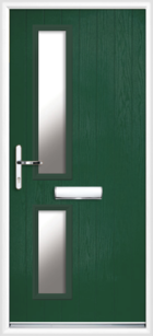 2 Rectangle Glazed Composite Front Door Green