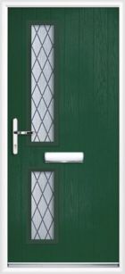 2 Rectangle Glazed Diamond Composite Front Door Green