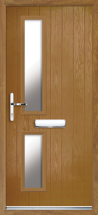 2 Rectangle Glazed Composite Front Door Oak