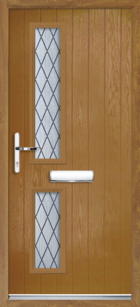 2 Rectangle Glazed Diamond Composite Front Door Oak
