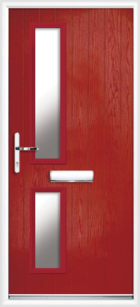 2 Rectangle Glazed Composite Door Red