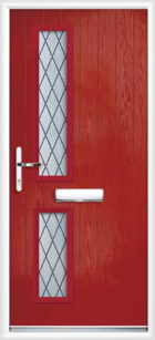 2 Rectangle Glazed Diamond Composite Front Door Red