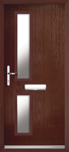 2 Rectangle Glazed Composite Front Door Rosewood