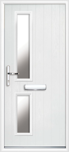 2 Rectangle Glazed Composite Front Door White