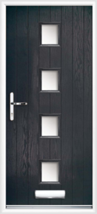 4 Rectangle Glazed Composite Front Door Black