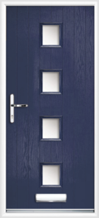 4 Rectangle Glazed Composite Front Door Blue