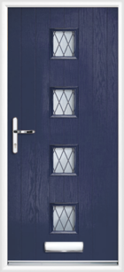 4 Rectangle Glazed Diamond Composite Front Door Blue