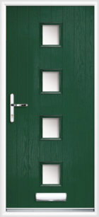 4 Rectangle Glazed Composite Front Door Green