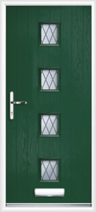 4 Rectangle Glazed Diamond Composite Front Door Green
