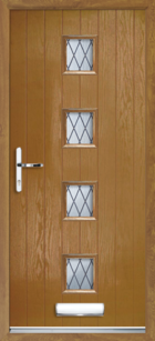 4 Rectangle Glazed Diamond Composite Front Door Oak