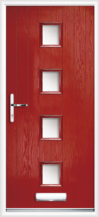4 Rectangle Glazed Composite Front Door Red