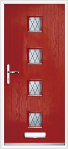 4 Rectangle Glazed Diamond Composite Front Door Red