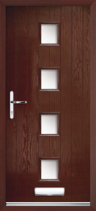 4 Rectangle Glazed Composite Front Door Rosewood