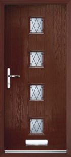 4 Rectangle Glazed Diamond Composite Front Door Rosewood