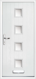 4 Rectangle Glazed Composite Front Door White