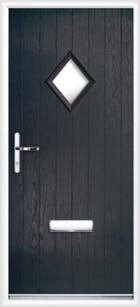 1 Diamond Glazed Composite Front Door Black