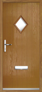 1 Diamond Glazed Composite Front Door Oak