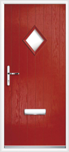 1 Diamond Glazed Composite Front Door Red