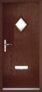 1 Diamond Glazed Composite Front Door Rosewood