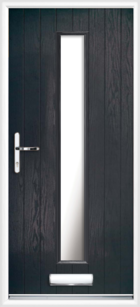 1 Long Rectangle Glazed Composite Front Door Black