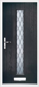 1 Long Rectangle Glazed Diamond Composite Front Door Black