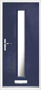 1 Long Rectangle Glazed Composite Front Door Blue