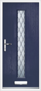 1 Long Rectangle Glazed Diamond Composite Front Door Blue
