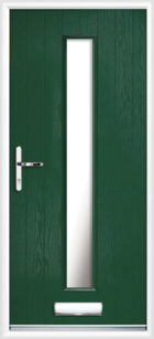 1 Long Rectangle Glazed Composite Front Door Green