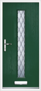 1 Long Rectangle Glazed Diamond Composite Front Door Green