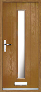 1 Long Rectangle Glazed Composite Front Door Oak
