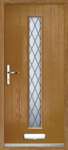 1 Long Rectangle Glazed Diamond Composite Front Door Oak