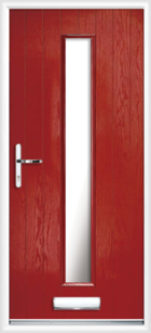 1 Long Rectangle Composite Front Door Glazed Red