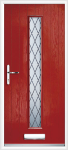 1 Long Rectangle Glazed Diamond Composite Front Door Red