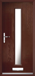 1 Long Rectangle Glazed Composite Front Door Rosewood