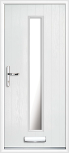1 Long Rectangle Glazed Composite Front Door White