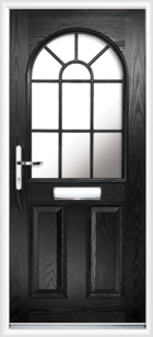 2 Panel Half Arch Georgian Glazed Composite Door Black