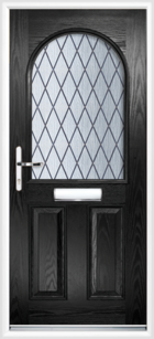 2 Panel Half Arch Diamond Composite Door Black