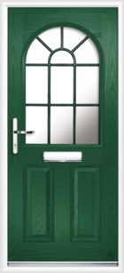2 Panel Half Arch Georgian Glazed Composite Door Green